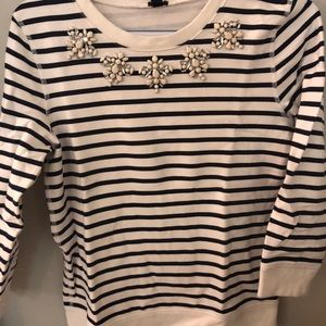 J.Crew embellished striped sweater
